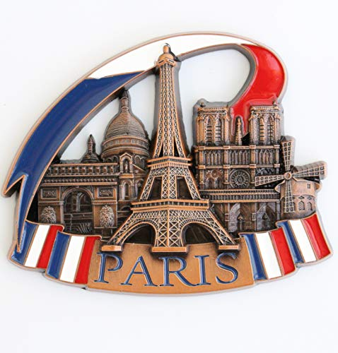 France Paris Metal Fridge Magnet Unique Design Home Kitchen Decorative Travel Holiday Souvenir Gift, Stick Up Your Lists Photos on Refrigerator