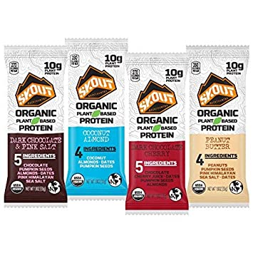 SKOUT BACKCOUNTRY Organic Protein Bars – Variety Pack – Keto Friendly – Vegan Snacks – Plant Based Protein – Non-GMO – Gluten Free, Dairy Free, Soy Free – No Sugar Added – 1.9 oz 12 Count