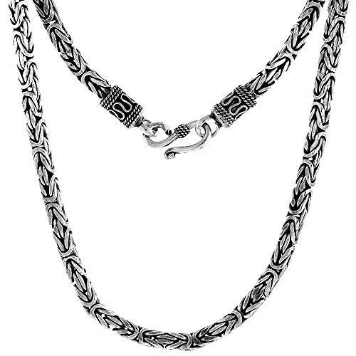 Sterling Silver Square Byzantine Necklace - 4mm Sterling Silver Square BYZANTINE Chain Necklace Antiqued Finish Nickel Free, 30 inch