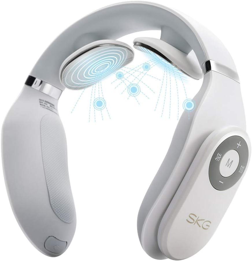SKG 4098 Smart Neck Massager Cordless Design Portable Massage Equipment with Heat White