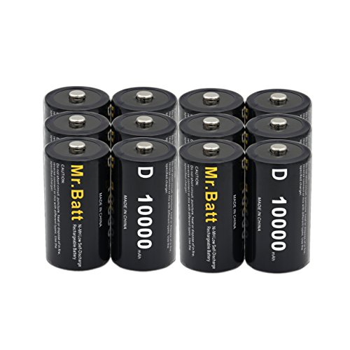 D Batteries Rechargeable (Pack of 12) NiMh D Cell 1.2V 10000mAh