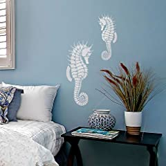 Beach house décor just got easy-breezy with our cute Seahorse stencils! These seashore-inspired stencil designs add relaxed beach style to your home and they are so easy to use! Nautical designs are a great way to bring comfort and class to y...