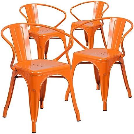 Flash Furniture 4 Pk Orange Metal Indoor Outdoor Chair With Arms