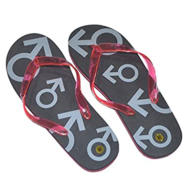 Mens Large Black & Red Just Married Flip Flops (Size 11-13) - Chanclas para hombre Multicolor negro/rojo 11-13 UK