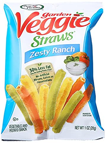 Sensible Portions Garden Veggie Straws, Zesty Ranch, 1 Ounce (Pack of 6)