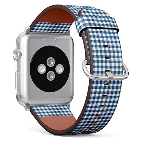 Compatible with Apple Watch (Small 38mm/40mm) Series 1,2,3,4 - Leather Band Bracelet Strap Wristband Replacement - Blue Gingham Tablecloth