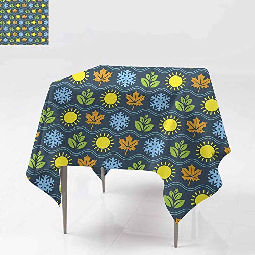Icon Dinner - Fbdace Custom Tablecloth,Seamless Wallpaper Pattern with Seasons Icons Dinner Picnic Table Cloth Home Decoration 54x54 Inch