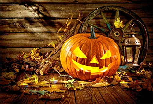 CSFOTO 8x6ft Background Grimace Pumpkin Lamp On Wood Floor Halloween Party Decor Photography Backdrop Withered Leaves Candle Retro Lantern Country Celebration Photo Studio Props Vinyl Wallpaper for $<!--$25.20-->