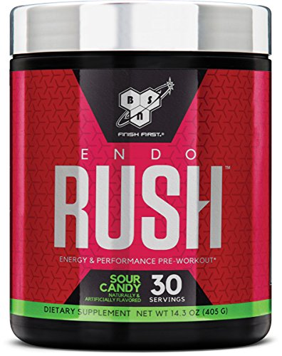 BSN Endorush Pre-Workout Powder, Sour Candy Flavor Energy Supplement for Men and Women, 300mg of Caffeine, with Beta-Alanine and Creatine, 30 Servings