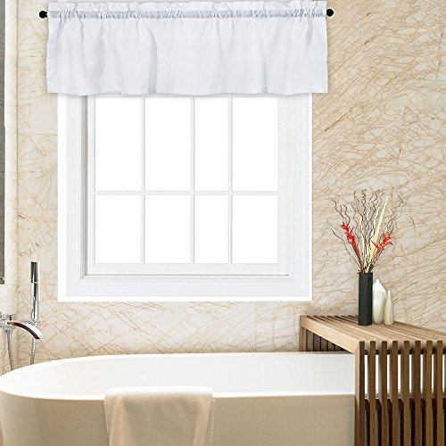CAROMIO White Valance for Bathroom, Water Repellent Waffle Woven Textured Valance Curtains for Windows Rod Pocket Kitchen Valance Curtain Cafe Curtains, 60 x 15 Inches, White
