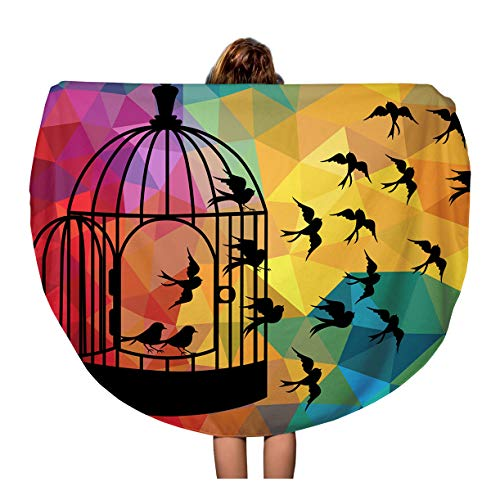 Semtomn 60 Inches Round Beach Towel Blanket Bird Fly Out Cage Freedom on Abstract Colorful Triangle Travel Circle Circular Towels Mat Tapestry Beach Throw