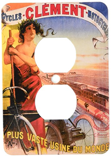 3dRose LLC lsp_149761_6 Vintage Clement Cycles Motorcycles French Advertising Poster 2 Plug Outlet Cover