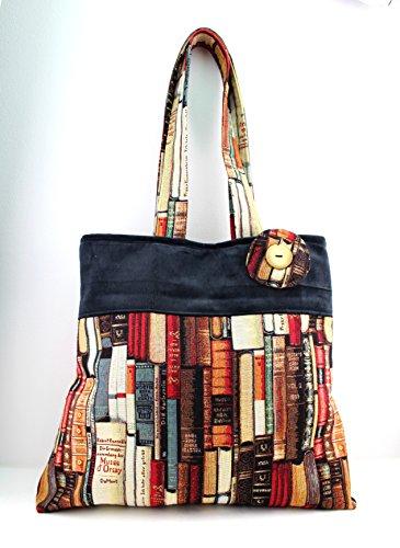 Handmade Fabric Handbags - Handmade Shoulder Handbag, book lovers - Gobelin made in Italy Fabrics