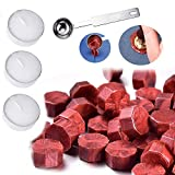 235 Sealing Wax Beads with 3 Pieces Tea Candles and 1 Piece Wax Melting Spoon for Craft Adhesive Waxing (Wine...