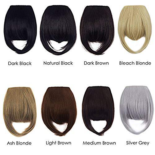 FIRSTLIKE 8 Inch Hair Clip-in Hair Bang Full Fringe Short Straight Hair Extension for Lady Light -