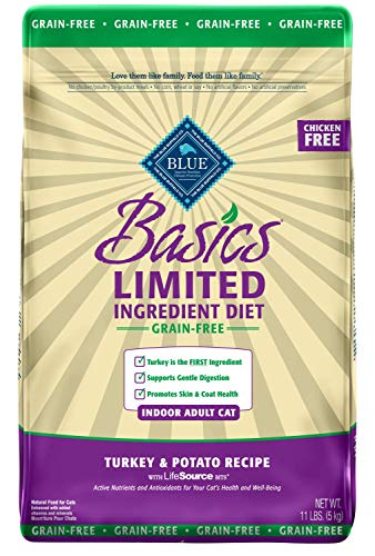 Blue Buffalo Basics Limited Ingredient Diet Grain Free, Natural Indoor Adult Dry Cat Food, Turkey & Potato 11-lb