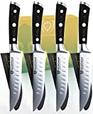 "DALSTRONG Steak Knives - Set of 4 - Straight Blade Edge - Gladiator Series - Forged German ThyssenKrupp HC Steel - w/Sheaths (5"" Straight-Edge Blade, Glacial White ABS Handle)"