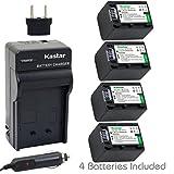 Kastar Battery (4-Pack) and Charger Kit for Sony NP-FH100 NP-FH70 TRV TRV-U and DCR Series DCR-DVD DCR-HC DCR-SR DCR-SX40 HDR-CX HDR-HC HDR-UX20 HDR-SR10 HDR-SR11 HDR-SR12 HDR-XR520V