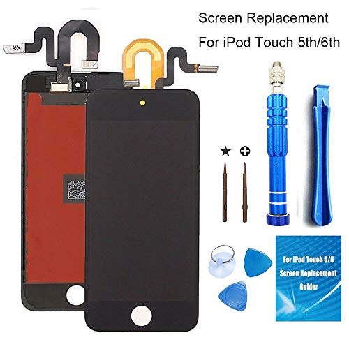 SZFIXEZ Screen Replacement for iPod Touch 5 5th 6 6th Generation Black Full LCD Digitizer Display Assembly Kit + Advanced Repair Tools Set ()