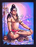HandicraftStore Lord Shiva Doing Meditation on Himalaya Mountain and Chanting with Rudrasha Mala, a Hindu Religious Painting with Frame for Hindu Religious Worship Purpose.