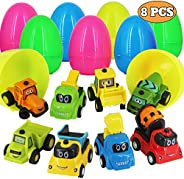 heytech 8 Pack Filled Easter Eggs Filled with Pull-Back Construction Vehicles Easter Egg Hunt Game, Cars Toys Party Favor fo