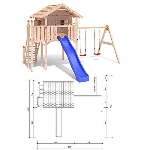 ISIDOR WONDER WOW Spielturm Kletterturm Baumhaus Rutsche Schaukeln Treppe 1,50m (einfacher Schaukelanbau)