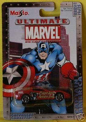 Ultimate Marvel 1:64 Scale Captain America Red Chevy Corvette Die Cast Car Maisto