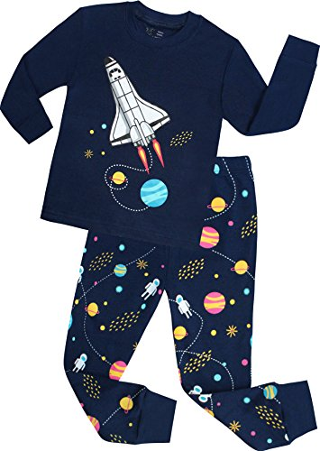 Boys Rocket Pajamas Toddler Kids Clothes Children Christmas PJs Pants Set Cotton Sleepwear Size 5 (Kids Clothes For Christmas)