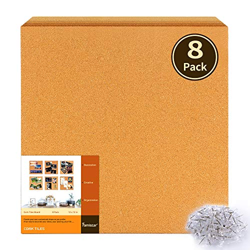 "Famistar 12"" x 12"" Square Cork Board Tiles 8 Pack with Full Sticky Back,Mini Wall Bulletin Boards,Pin Board-Decoration for Pictures,Photos,Notes,Goals,Drawing,Painting-Bonus 50 Pins"