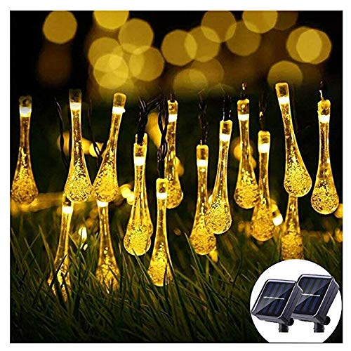 ifOlife 2Packs Solar String Lights Outdoor Raindrop Lights Solar Power Decoration Twinkle Lights 30Led 21Foot Waterproof Patio Lights for Decor C Wedding Birthday Party Garden Corridor(Warm White)