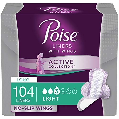 Active Collection - Poise Active Collection Incontinence Liners with Wings, Light Absorbency, 104 Count