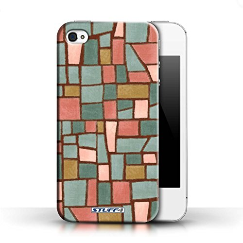 Etui / Coque pour Apple iPhone 4/4S / Rouge/Bleu conception / Collection de Carrelage Mosaïque