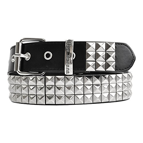 (Blue Banana Unisex-adult's Classic 3 Row Studded Belt - Large, Black/Silver)