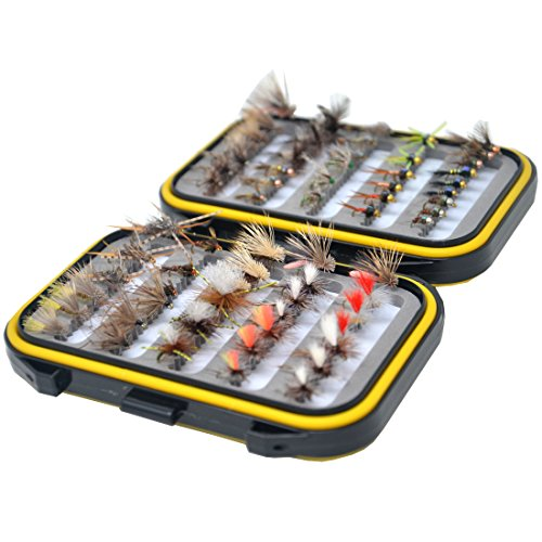 Outdoor Planet Assorted Trout Fly Fishing Lure Pack of 66 Fly Lure + Double Side Waterproof Pocketed Fly (Wet Fly Fishing)