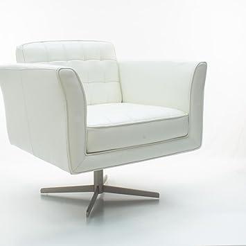 Ledersessel Bologna Weiß | Dreh-Sessel Leder-Sessel Retro-Sessel ...