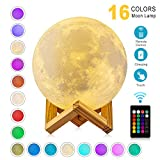 good looking unique bedside lamp Moon Lamp 3D Printing 16 Colors Moon Light with Stand & Remote &Touch Control and USB Rechargeable (Diameter 4.72 inch), Best Gifts for Baby Kids LoverBirthday