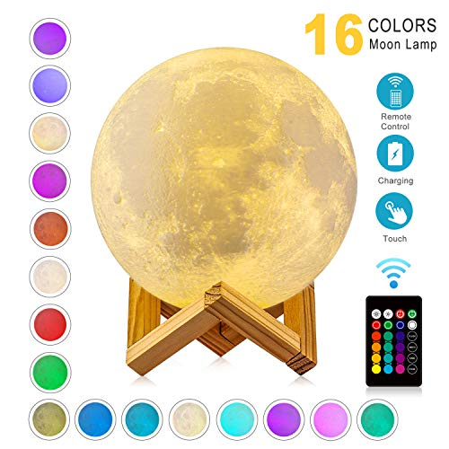 Moon Lamp 3D Printing 16 Colors Moon Light with Stand & Remote &Touch Control and USB Rechargeable (Diameter 4.72 inch), Best Gifts for Baby Kids Lover Birthday