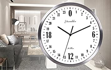 Newest 24 Hour Dial Design 12 Inches Metal Frame Modern Fashion Decorative Round Wall clock silver frame