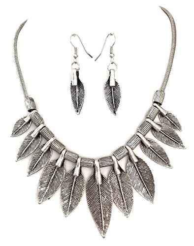 Gypsy Jewels Feather Leaves Statement Short Necklace & Earrings Set (Silver Tone) by Gypsy Jewels
