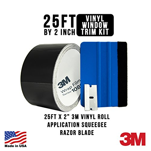 Gold Label Detailing 3M Black Out Trim Chrome Delete Vinyl Wrap Kit | 25ft Roll of 3m Scotchprint 1080 | Felt Edge Squeegee and Razor Blade Included (Satin Black)