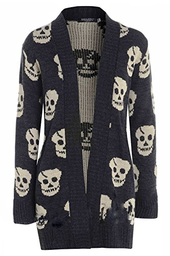Black Skull Sweater (OgLuxe Women's Skull Print Knitted Long Sleeve Jumper Open Cardigan (S/M (UK 8-10 EU 36-38 US 4-6), Charcoal))
