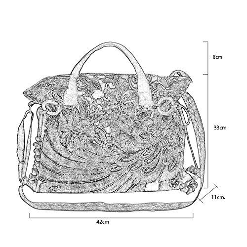 GMS467 Stickerei-Handtasche, Frauen-vibrierende Blume stickte ethnische Taschen-Tasche, Hand-Quasten ethnische ethnische gestickte Beutelreise-Umhängetasche Umhängetasche-Dametasche, 3 Farben ( Farbe  Blau