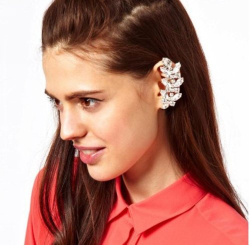 Wiipu Cute Silver Leaf Multi Crystal Ear Cuff Earrings Stud Earrings Punk Emo Goth(D64)