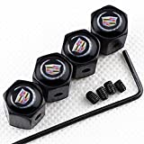 CHAMPLED New (4PC) Cadillac Logo Metal Black Anti-Theft Wheel TIRE AIR Valve STEM CAPS DUST Cover