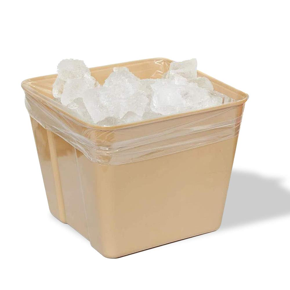 APQ Pack of 100 Clear Ice Bucket Liners 6 x 6 x 12. Food Grade Plastic Ice Bags 6x6x12. 1 mil Thick. Transparent Polyethylene Liners for foodservice, Restaurants, Hotels or Home.