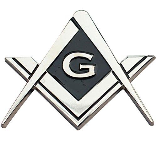 Masonic Freemasonry Chrome Square and Compasses Auto Emblem Car Decal 2 (Emblem Cufflinks)