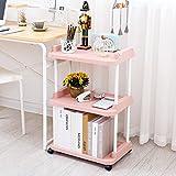 Estantes de piso de tres capas, estantes de lavabo de plástico multifuncionales, estante de almacenamiento de tocador de baño, cocina, estantes de sala de estar L46 * W31 * H83.5cm, carga de 25 kg ( Color : Pink )