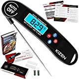 Kizen Digital Meat Thermometer - Instant Read, Talking, Back Light, Collapsible Probe, Auto-off. Comes in Premium Gift Box, with eCookbook. For Food, Kitchen, Cooking BBQ! (Black)