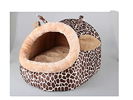 Giraffe Shape Dog House Cute Pet Cat Dog Bed Lounge With Warm Plush Pad