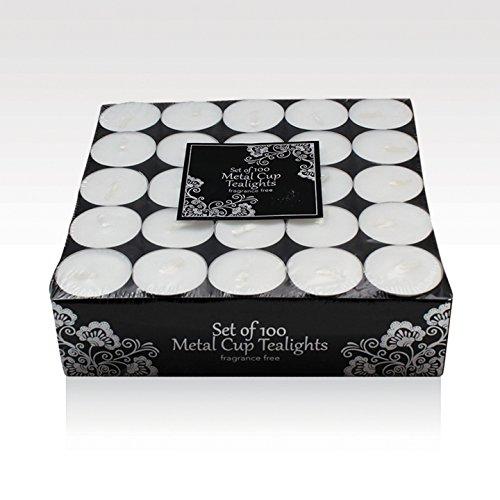 100 Tea Lights Set - White - Unscented (Discounted Halloween Decor)